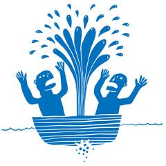 Two man in a sunken boat