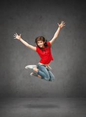 happy jumping teenage girl