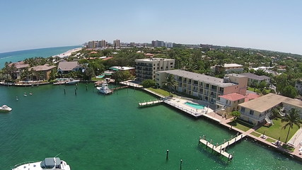 Aerial view of coastal marina in Florida