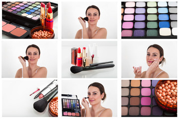 Professional makeup collage