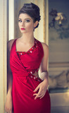 pretty elegant woman in red dress