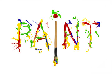 Colorful paint splash painted word paint