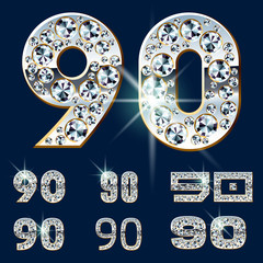 Ultimate alphabet of diamonds and platinum ingot. Numbers 9 0