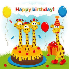 birthday giraffe - vector illustration, eps