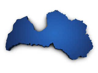 Map Of Latvia 3d Shape
