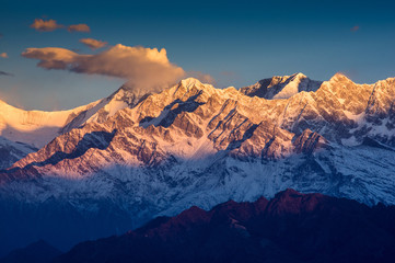 Beautiful view of Annapurna range, Himalayan mountains, Nepal, f