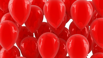Red balloons fly up