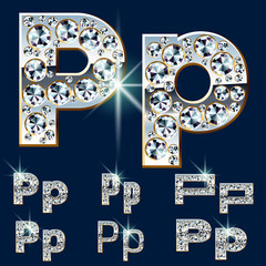 Ultimate alphabet of diamonds and platinum ingot. Letter P