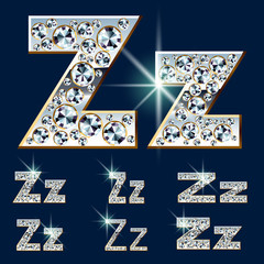 Ultimate alphabet of diamonds and platinum ingot. Letter Z