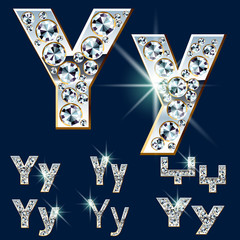 Ultimate alphabet of diamonds and platinum ingot. Letter Y