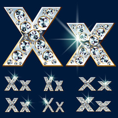 Ultimate alphabet of diamonds and platinum ingot. Letter X