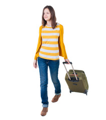 front view of walking  woman  with suitcase.