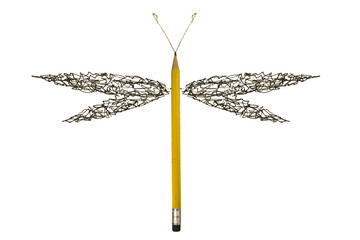 Pen sketch scribble made dragonfly