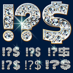 Ultimate alphabet of diamonds and platinum ingot. Symbols