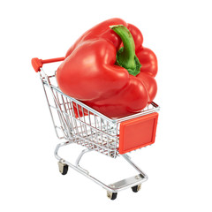 Red pepper in a shipping cart