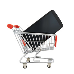 Phone in a shopping cart isolated