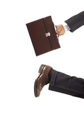 Running businessman on isolated background