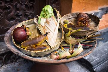 Offering at Hindu temple, Bali, Indonesia