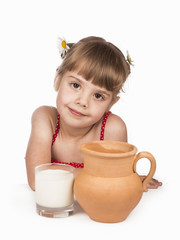 beautiful girl with milk