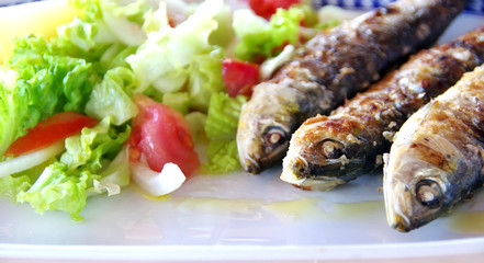 Grilled sardines with potato and salad
