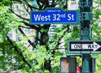 One way and 32 st sign in Manhattan - NYC