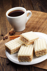 Sweet waffles and cup of coffee