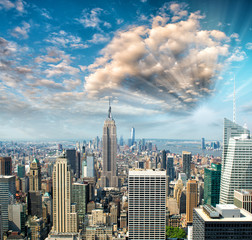 Blue sky over Manhattan skyline