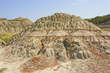 Colorful Badlands formation in the Summer