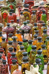 Colorful pots handicrafts of India