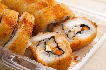 Sushi slices.