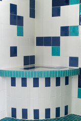 blue and white shower tile