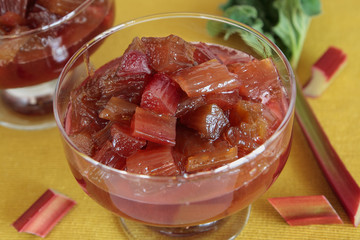 Glasses with rhubarb jam
