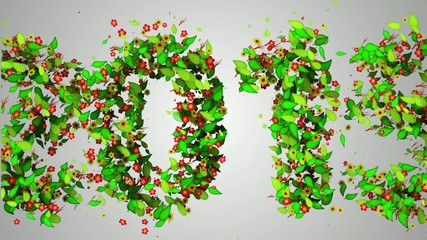 2015 New Year Leaves Particles Looping Animation
