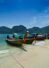 Long Tail Boats at Phi Phi Leh island, Phuket, Thailand