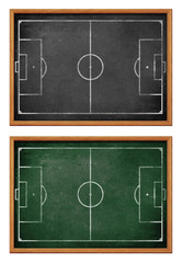 Blackboards for soccer team formation. Football field or pitch p