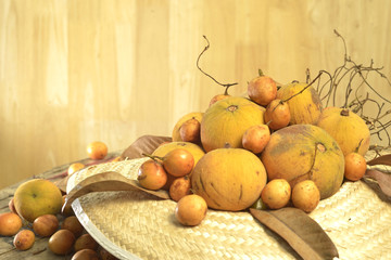 Santol  and Burmese grape  group weave hat background