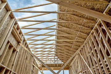 New construction of a home unfinished roof