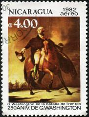 stamp shows George Washington  1732-1799 , Battle of Trenton