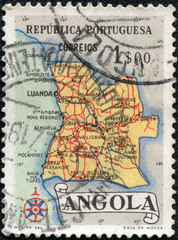 stamp printed in Angola shows a map of Angola