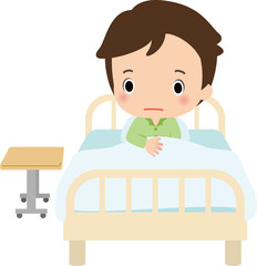病院のベッドに座る男性