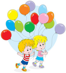 Little girl and boy with colorful balloons