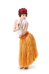 Young caucasian hula dancer dancing