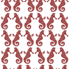 Seamless sea pattern with black sea horses on a white background