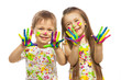 Little kids with hands painted in colorful paint