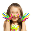 Leinwanddruck Bild - Little girl with hands painted in colorful paint