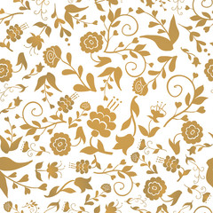 Vintage seamless pattern with flowers on a white background