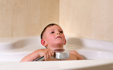Boy having a relaxing bath