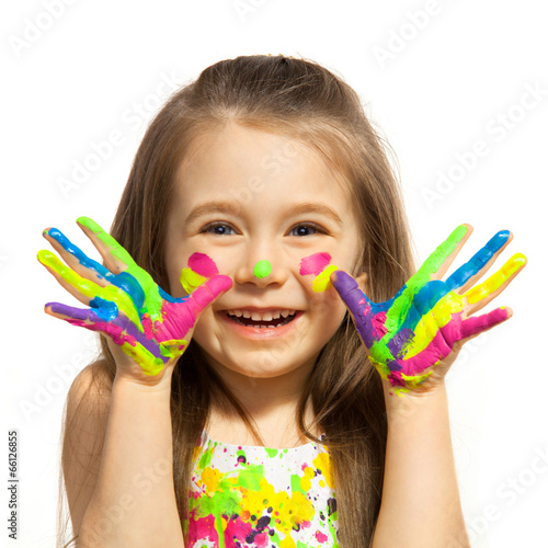 Little girl with hands painted in colorful paint - 66126855