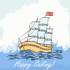 Vector illustration of a ship sailing on the sea. Hand drawing