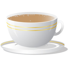 Vector illustration of white cup of coffee
